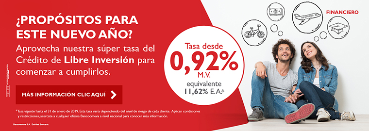 Libre inversión - Tasa especial 0,92% M.V.